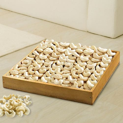 Enticing Cashews in Wooden Tray