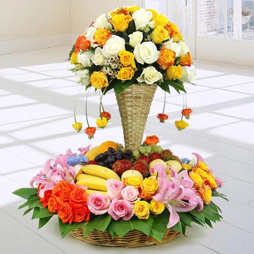 Premium Arrangement of Fresh Fruits N Flowers