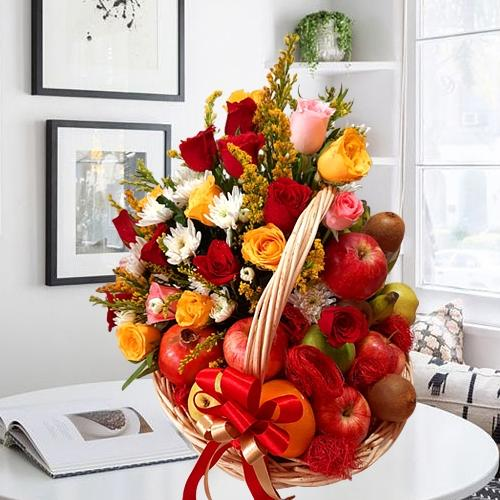 Exquisite Fruits n Flowers Basket