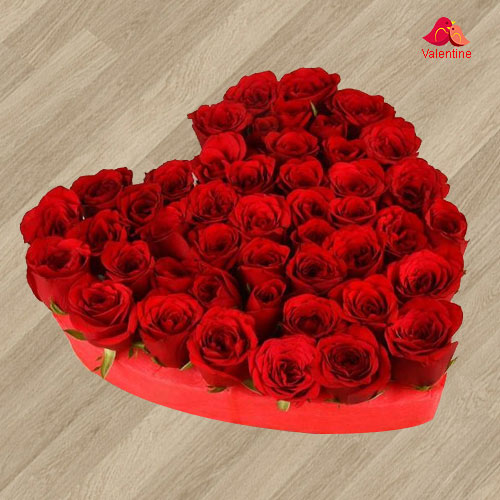 101 Exclusive Dutch Red Roses in  Heart Shaped Arrangement