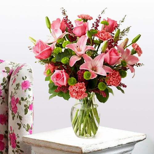 Dazzling Arrangement of Lilies, Roses and Carnations
