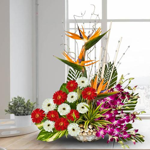 Brilliant Mixed Flowers Arrangement