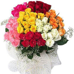 50 Mixed Colour Roses Bouquet