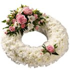 Glorious Peaceful Remembrance Carnations and Rose Wreath