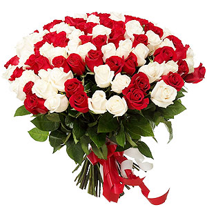 Classic Red N White Roses Bouquet