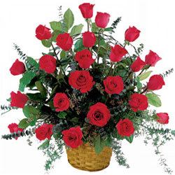 Stunning Basket of Red Roses