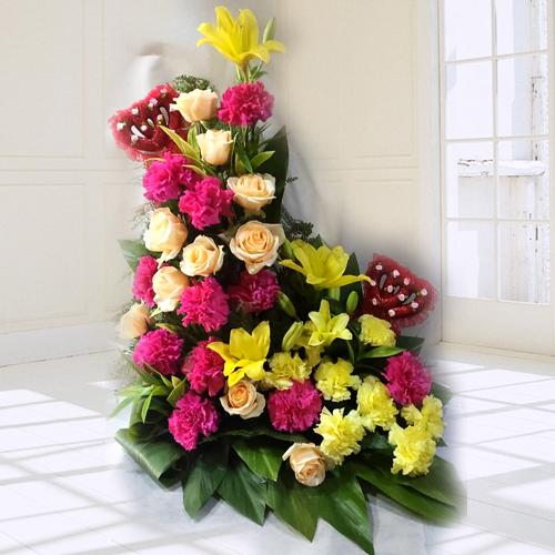 Eye-Catching Assorted Flowers Arrangement for 30th Birthday