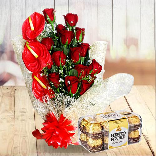 Striking Combo of Red Flowers Bouquet with Ferrero Rocher