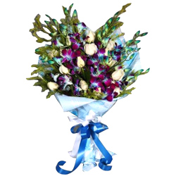 Ravishing Orchids N Roses Bouquet