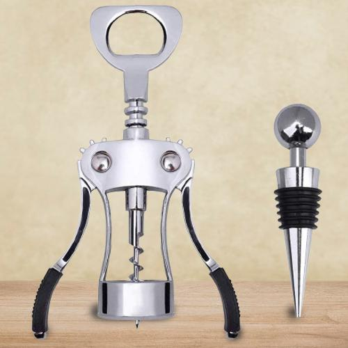 Multi-functional Winged Corkscrew with Stopper