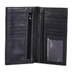 Long Leather Wallet with transparent flap And zip