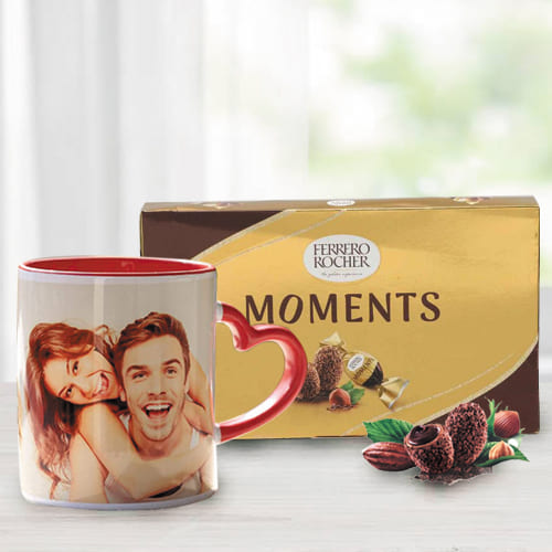 Amazing Personalized Photo Mug with Heart Handle n Ferrero Rocher