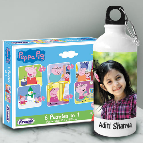 Marvelous Personalized Photo Sipper n Peppa Pig Puzzle