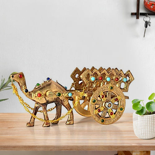 Fantastic Rajasthani Gemstone Studded Brass Camel with Antique Work