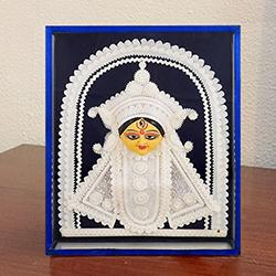 Auspicious Teracotta and Thermacol made Maa Durga in a Glass Frame