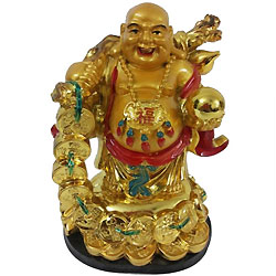 Extraordinary Standing Laughing Buddha Idol with a Bag of Gold