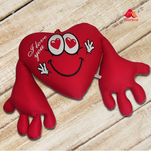 Impressive Heart Shape Cuddly Cushion with I Love You Message