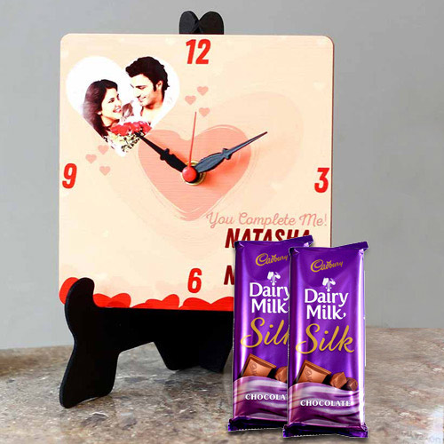 Stylish Personalized Photo Clock with Cadbury Dairy Milk Silk