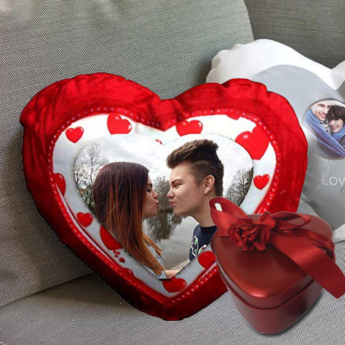 Exclusive Heart Shaped Cushion with Tin Box