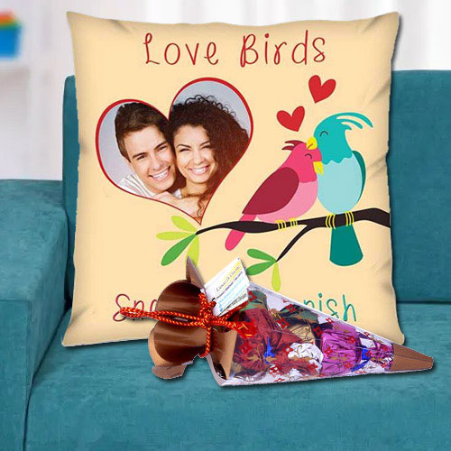 Amazing Personalized Cushion with a Cone of Handmade Chocolates