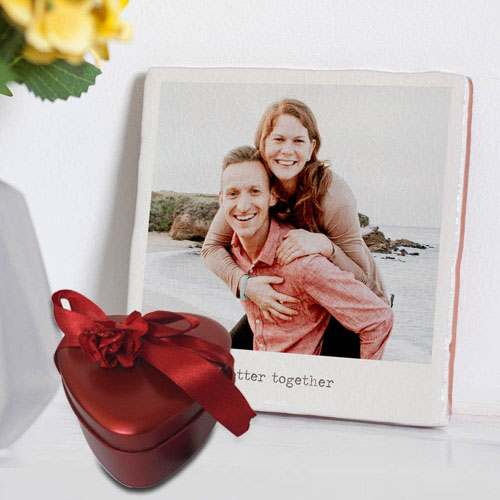 Amazing Personalized Photo Tile with Heart Shape Hand Made Chocolates