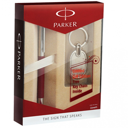 Sophisticated Parker Vector Metallix CT Roller Ball Pen and Key Chain