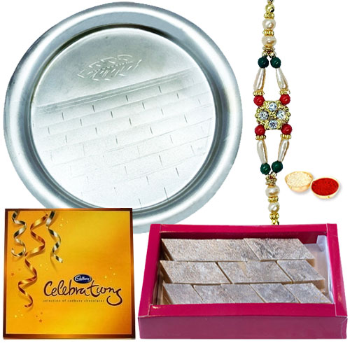 Puja Thali with Celebration Pack and Rakhi