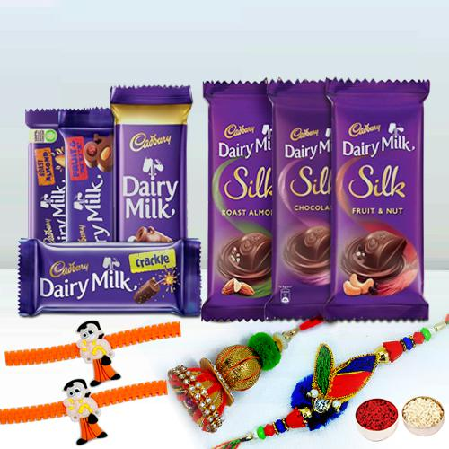 Assorted Cadbury With Family Rakhi Set Gift for Brother