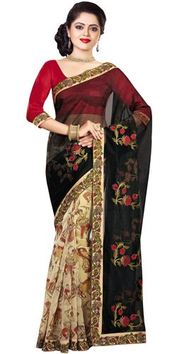 Rhythmic Brilliance Black Supernett Saree