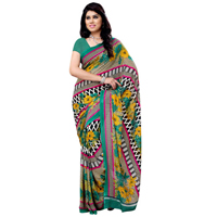 Amazing Renial Georgette Printed Saree in Multi-Shaded Colours