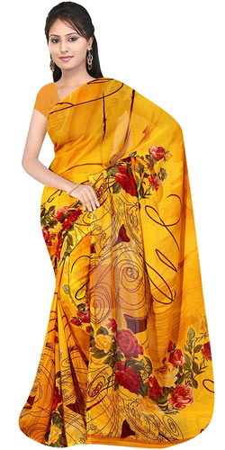 Dazzling Women's Georgette Printed Saree from Suredeal