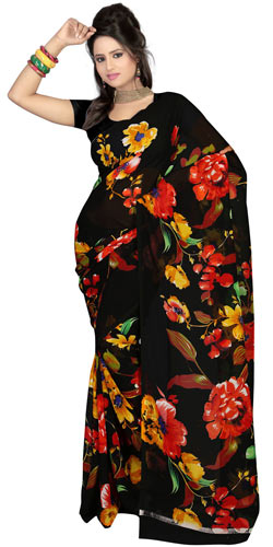 Outstanding Faux Gorgette Printed Saree