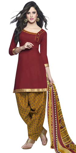 Fashionable Cotton Printed Patiala Suit Shaded in Red and Yellow