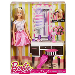 Designer Gift of Barbie Doll Hair N Make-Up Kit for Kids