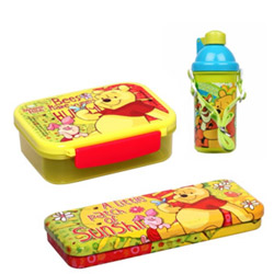 Winnie-the-Pooh Tiffin Box, Sipper Bottle and Pencil Box Hamper for KIds