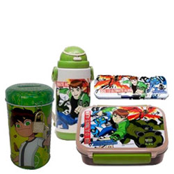 Beautiful Collection of Ben 10 Tiffin Box, Pencil Box and Watter Bottle in a Hamper