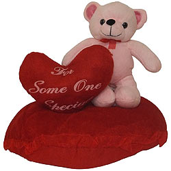 Delightful Cushion with Heart N Teddy