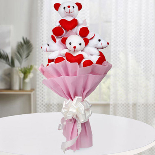 Marvelous Bouquet of Teddy with Hearts