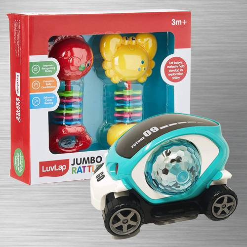 Exclusive 360 Degree Rotating Stunt Car N Fish Teether Rattles