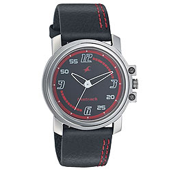 Typically styled round dial wrist watch for gents from Titan Fastrack.