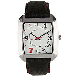 Trendy Gents Watch Presented by Titan Fastrack with Leather Straps and Metallic Dial