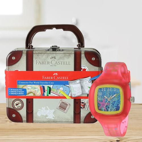 Exclusive Zoop Analogue Watch N Faber-Castell Colours Set