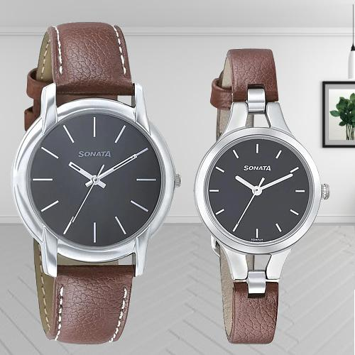 Amusing Sonata Analog Black Dial Couple Watch